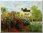 Claude Monet's Garden at Argenteuil Stretched Canvas Art Print Painting Repro