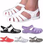 Womens Ladies Flat Buckle Strap Jelly Sandals Gladiator Jellies Summer Shoes Uk