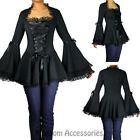 RK112 Black Wide Sleeve Victorian Goth Rockabilly Lace Up Top Blouse Retro 50s