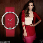 Fashion Womens Hollow Dial Dress Analog Quartz Leather Classic Wrist Watch Gift