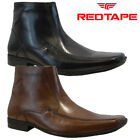 NEW MENS RED TAPE REAL LEATHER ZIP SMART FORMAL CHELSEA ANKLE BOOTS SHOES SIZE