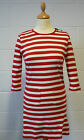 SALE! NEW RETRO SIXTIES WOMENS BRETON STRIPE SAILOR DRESS / TOP (RED) h164