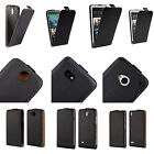 Black New Luxury Genuine Leather Vertical Flip Protective Phone Case Cover Pouch