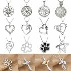 Women Stylish Animal Letter Heart Compass Cross Flower Crystal Pendant Necklace