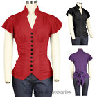 RK115 Buttons Rockabilly Vintage Retro 50s Pin up Short Sleeve Bow Blouse Top