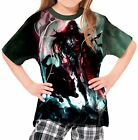 Spear Warrior Next To Black Wolf Girl's Kid Youth T-Shirts Tee Age 3-13