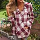 Sweatshirt Plaid Hoodie Pullover Women Blouse Top Cotton Blend Outwear N4U8