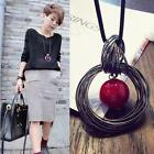 New Hot Circle Red Pearl Pendant Statement Long Chain Sweater Necklace Jewelry