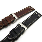 Super Heavy Chunky Riveted Genuine Leather Watch Strap 683R 20-26mm Black Brown