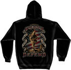Black Hooded Sweatshirt with Army Soldier This We'lll Defend Design