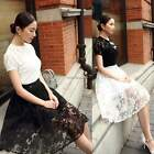Ladies Vintage A-line Swing Floral Lace Ball Gown Pleated Two Layer Midi Skirt