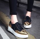 2016 Fashion Womens Platform Flat Pointed Toe Lace Up Brogues Oxford Goth Shoes
