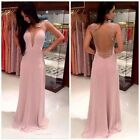 Womens Fashion Beaded V-neck Sleeveless Sexy Chiffon Dress Prom Gowns Party - CB