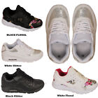 LADIES WOMEN RUNNING FLORAL GYM SPORT SPARKLY LACE UP AIR TRAINER GLITTERY SHOE