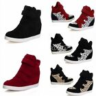 Fashion Womens Casual High Top Leopard Faux Suede Sport Athletic Shoes
