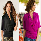New women fashion Three Quaters sleeve Solid V-neck T-shirt spring wear top