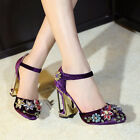 Retro Womens High Heels Ankle Strap Rhinestone Gorgeous Dress Mary Janes Shoes
