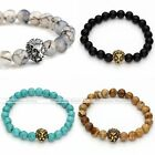 Cool Unisex Lion Head Natural Lava Rock Agate Turquoise Gems 8MM Beads Bracelet