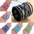 New Fashion Multilayer Women Crystal Leather Bracelet Cuff Bangle Gift