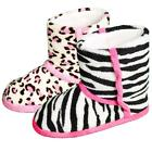 Girls Animal Print Warm Bootie House Slippers Soft Snuggle Gift Zebra Leopard