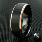 Tungsten Ring Rose Gold Black Brushed Wedding Band Ring Men's Jewelry