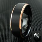 8mm Tungsten Black & Rose Gold Men's Wedding Band Ring Size 9-13