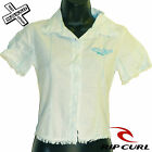 RIP CURL 'VISHY SHIRT' WOMENS SHORT SLEEVE GREEN COLLAR BUTTON UK 6 8 XS S NEW