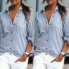 Blue White Striped Casual Chiffon Blouse Women's Slim Fit Long Sleeve Shirt Tops