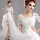 White Lace petals Evening Formal Party Prom Gown Bridesmaid Wedding Dres L668