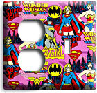 SUPERGIRL BATGIRL WONDER WOMAN LIGHT SWITCH WALL PLATE OUTLET COVER GIRL BEDROOM