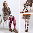 2016 Women Fancy Dress Over Knee Long Stripe Print Thigh High Striped Socks - CB