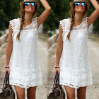 2016 Women's Summer Casual Sleeveless Evening Party Beach Dress Mini Lace Dress