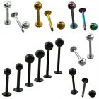 1Pc Stainless Steel Ball Bar Body Piercing Ring Stud Lip Labret Tragus Navel