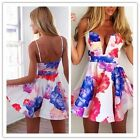 Chic Women's Deep V-Neck Straps Floral Print Short Mini Sexy Dress Clubwear - CB