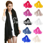 Fashion Women Long Soft Shawl Wrap Scarf Solid Voile Shawls Scarves Stole