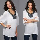 Pop Women's Ladies Embroidery Short Sleeve T Shirt Casual Loose Blouse Tops - CB