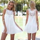 Women Lace Sleeveless Long Tops Blouse Shirt Ladies Beach BOHO Mini Dress 6-16 !