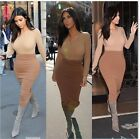 Women's solid long sleeve cocktail evening party slim bodycon knee length dress