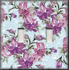 Floral Home Decor - Light Switch Plate Cover - Purple Lily Flowers On Blue