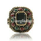 1pc Crystal Jewelry Alloy Antique Copper Charm Modern Solid Rings 19x18mm