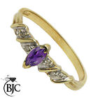 BJC® 9ct Yellow gold Amethyst & Diamond Solitaire size O engagement ring R241