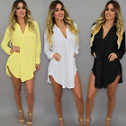 Women Loose Chiffon T Shirt Casual Long Sleeve V-Neck Tops Blouse Dress Oversize