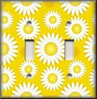 Floral Home Decor - Light Switch Plate Cover - White Daisies On Yellow - Daisy