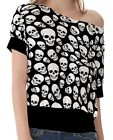 Black White Skull Pattern Women's Clothing Top T-Shirts One Shoulder