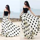 Summer Beach Women BOHO Long Maxi Polka Dot Skirt Chiffon Pleated Skirts Dress