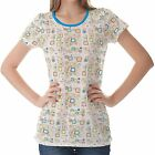 White Retro Pattern Womens Ladies Short Sleeve Top Shirt Blouse