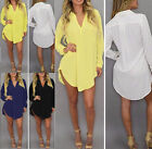 Women Loose Chiffon T Shirt  Long Sleeve V-Neck Top Blouse Dress Over Size 2016
