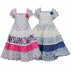 Girls Kids Floral Layered Cotton Gypsy Flared Dress