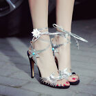 New Roman Party High Heels Womens Open Toe Lace Up Strappy Sandals Dress Shoes