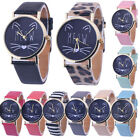 Fashion Women Watch Cat Pattern Leather Band Analog Casual Quartz Wrist Watch